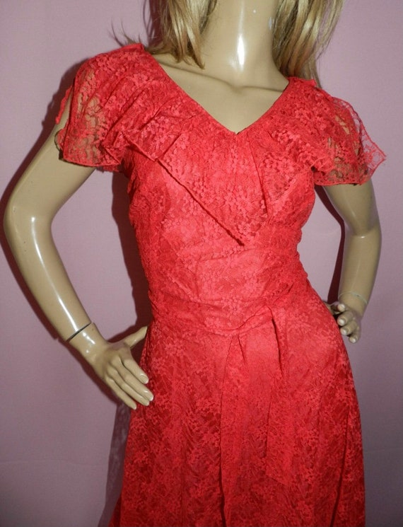 70's Red Floral Red Dress - image 4