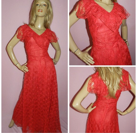 70's Red Floral Red Dress