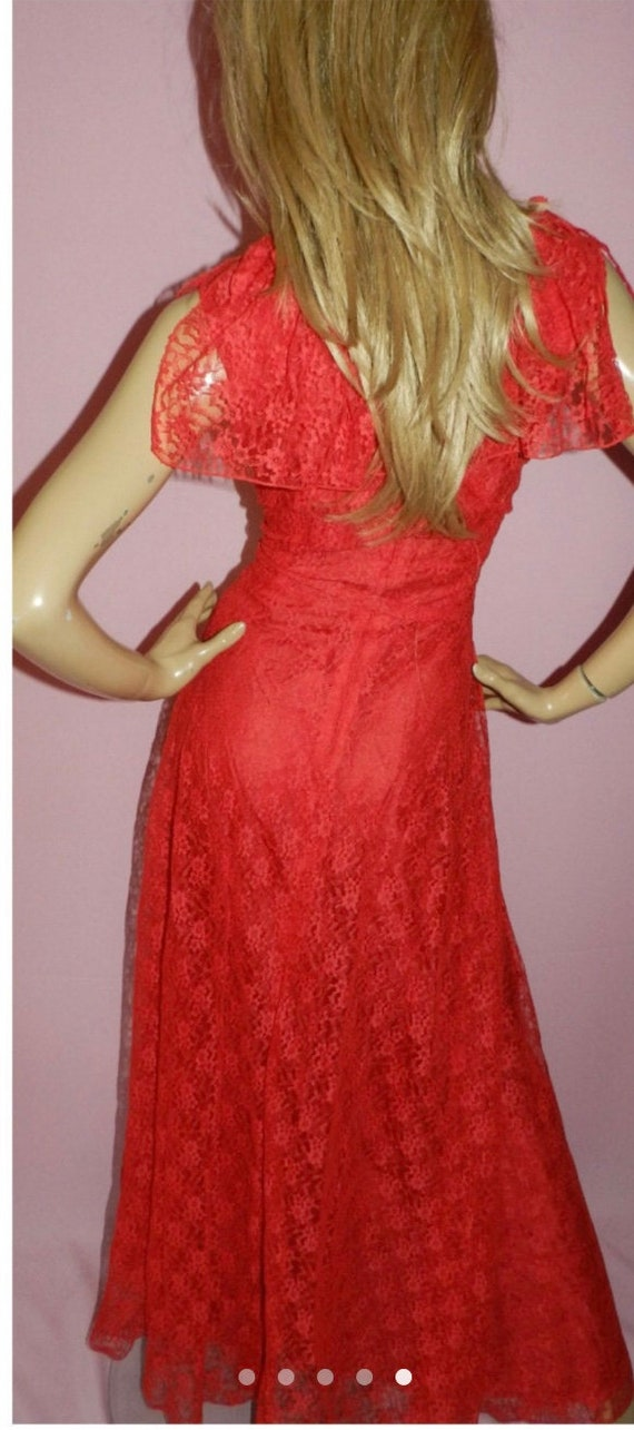 70's Red Floral Red Dress - image 3
