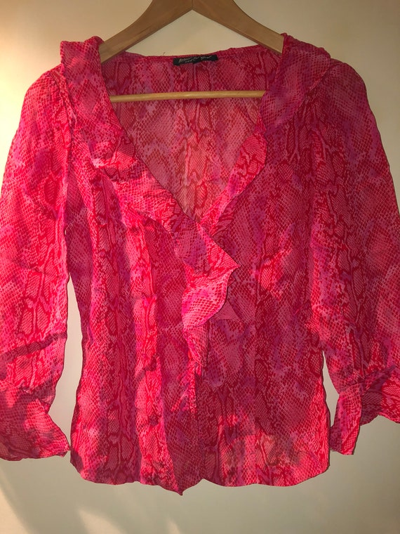 1990's Betsy Johnson pink and red leopard print bl
