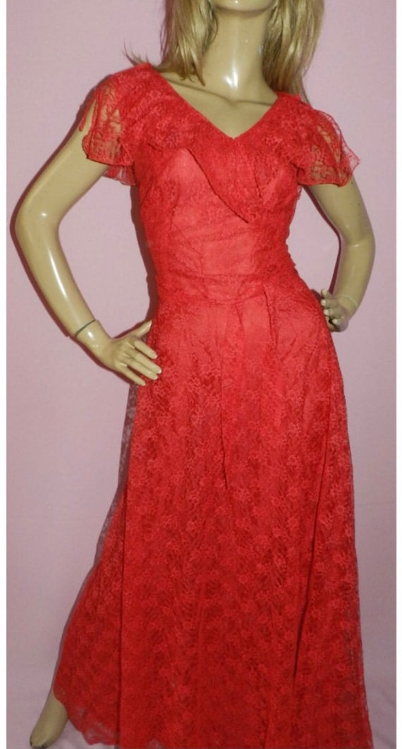 70's Red Floral Red Dress - image 2