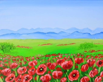 Tuscany Painting Poppy Original Art Acrylic Painting on Canvas Flowers Wall Art Small Artwork  7 by 9 by Julia Happy Art