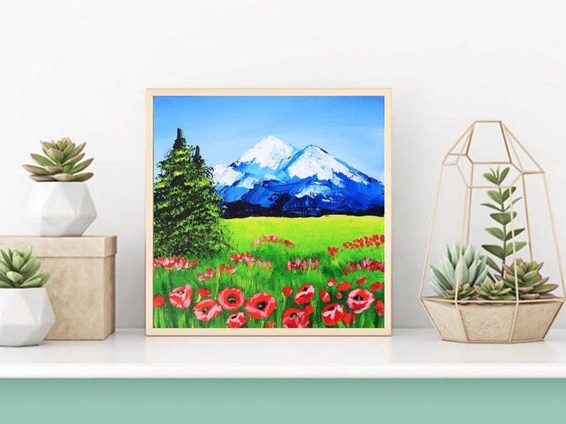 Tuscany Painting Poppy Original Art Acrylic Painting on Canvas Flowers Wall Art Small Artwork  7 by 7 by Julia Happy Art