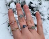 Crystal wire wrapped rings, Rose quartz rings, Amethyst rings, Aventurine rings, Healing Crystal rings, stackable rings, crystal jewellery