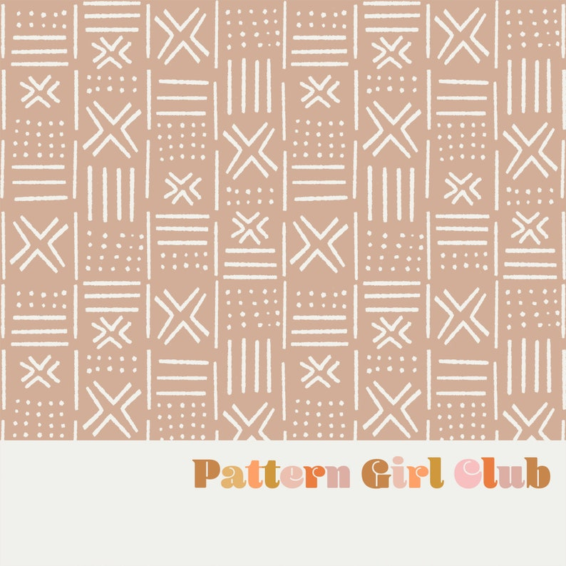 Mudcloth Neutral Nude Seamless Repeat Pattern Boho Neutral for Commercial Use