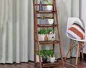 Foldable 3 4-Tier Ladder Bookcase Storage Rack Bookshelf Plant Stand Display Shelf