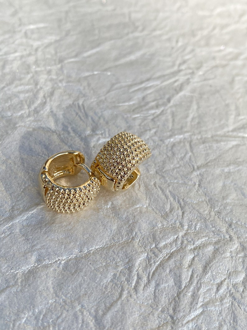 Mothers Day Gifts Gift for Mom Small Earrings PopcornTextured Huggies Dainty Huggies, Small Hoops