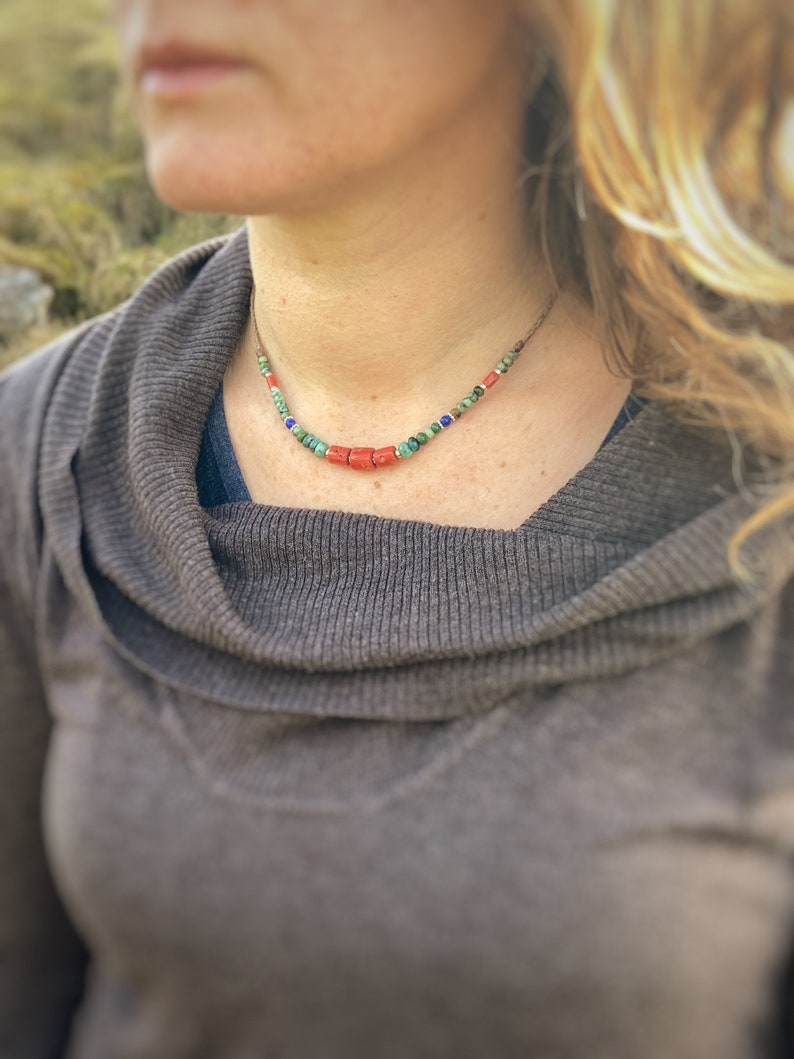 Navajo style Beaded Necklace Chunky Red Coral Choker Turquoise and Lapis Lazuli Necklace uk Western style Necklace Gift Idea for women uk