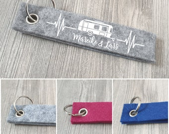 Caravan keychain personalized with desired text, camping, pendant with text, keychain, gift idea
