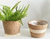 Woven Storage Plant Pot Basket Garden Flower Vase Lined