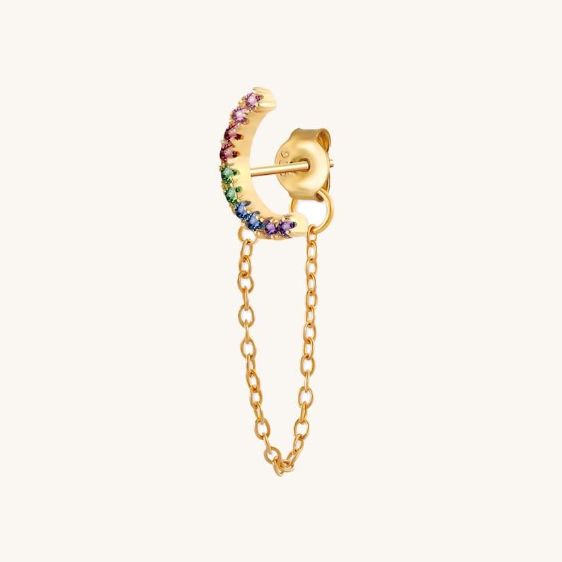 Earrings Set Earrings Studs Earring Silver Earrings Dangle Minimalist Earrings Rainbow Chain Earrings Delicate Earrings Earrings Gold