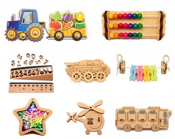 Busy Board Parts, DiY Busy board elements Toddler Busy Board Colourful pieces Activity Child Gift Craft set Tractor Wooden components shapes