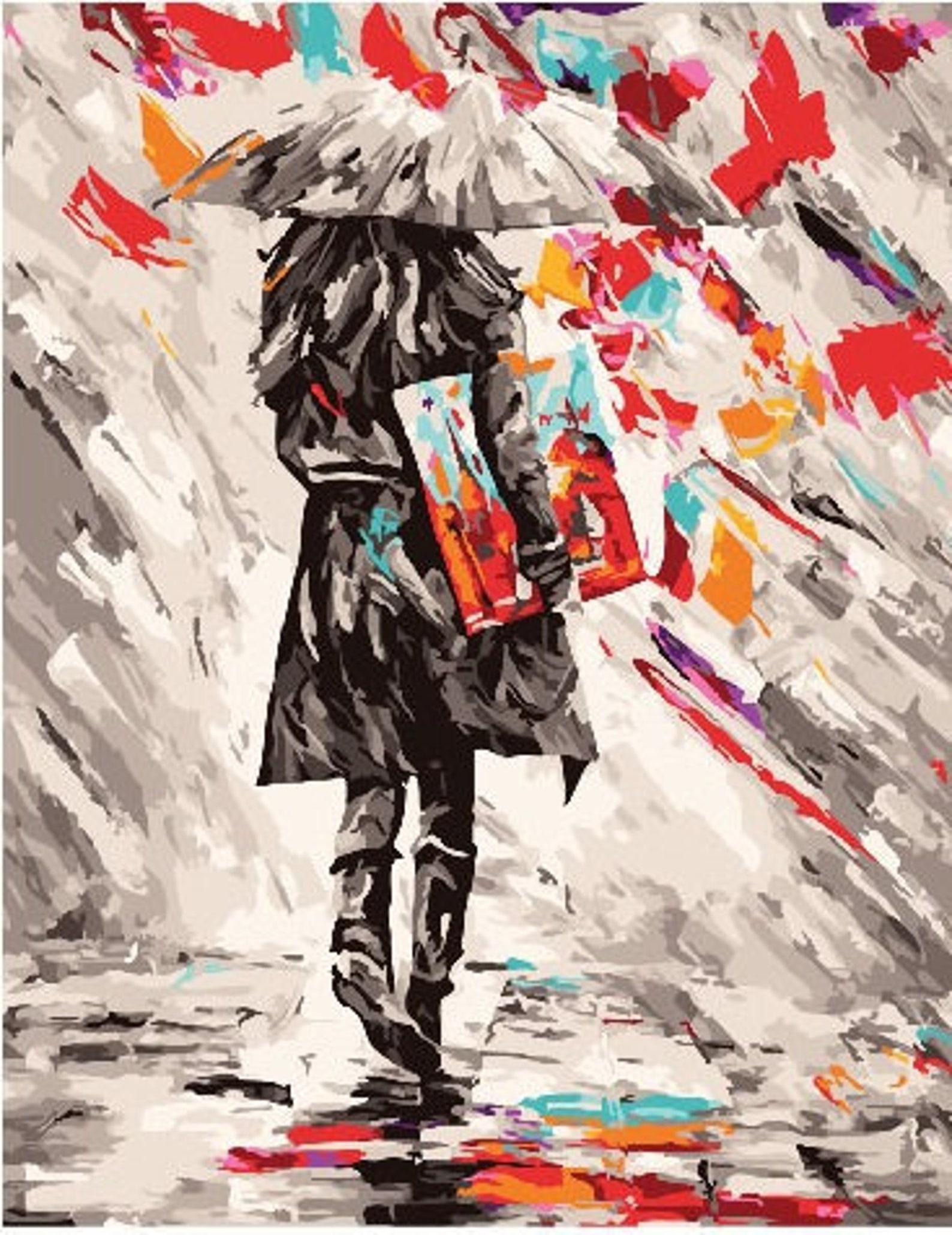 frau malen von nummer kit mädchen mit regenschirm große  etsy