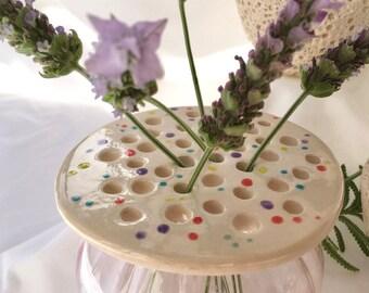 Dotty flower frog, portable vase, handmade in ceramic