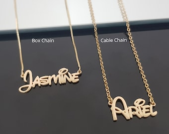 Custom Name Necklace, Personalized Nameplate Necklace, Little Girl Name Necklace, Daughter Birthday Gift, Name Necklace For Kids,