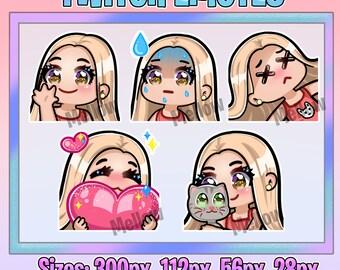 5 EMOTES Pack Cute Twitch Emotes Blond Girl Brown Eyes