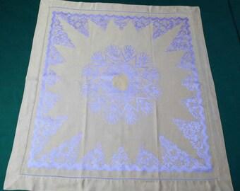 Vintage square tablecloth, vintage damask table topper