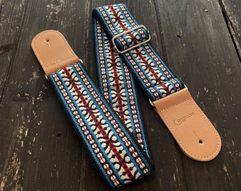 Blue white and red jacquard guitar strap, electric bass and acoustic, vintage embroidered, woven vegan strap, adjustable, strong and durable