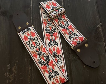 White black and red jacquard guitar strap, electric bass and acoustic, flower design vintage embroidered, woven strap, adjustable