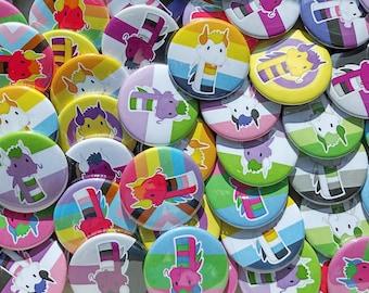 LGBTQ+ Dragon Button Badges   Cute LGBT Badges   Progress Pride/Intersex/Genderqueer/Genderfluid/Demisexual/Polysexual/Aromantic/Aro-Ace