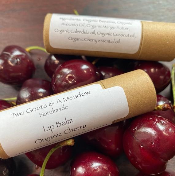 Organic All Natural Cherry Lip Balm / Chapstick Eco Friendly
