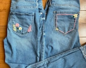 Hand Embroidered Thrifted Jeans Floral Design