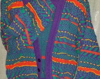 Mexican colors hand knitted designer cardigan 100% cotton turquoise purple yellow orange