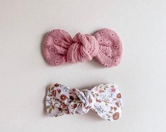 Sweet Carolina: Knot Bows Set {set of 3} Pink Vintage Floral Knot bow Dark Gray Linen Bow, Light Denim Knot bow
