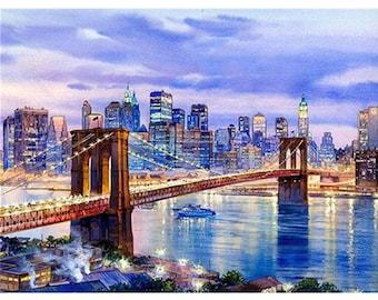 embroidery art City Brooklyn bridge cross stitch pattern modern wall art New York cross stitch USA bridge download #203