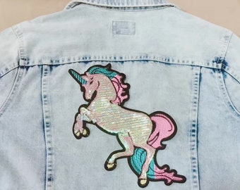Large sequined unicorn  patch,shinning,Pink  gorgeous patch,iron on patch,embroidered patch,applique, Sew on patch,