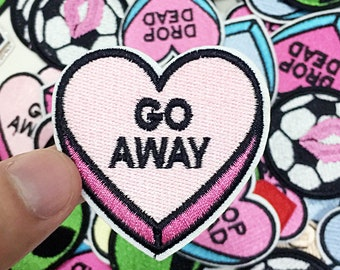 Embroidery Pink /& Black Go Away Heart Patch Craft Jackets Embroidered Supply Fabric Denim Applique Sew On Iron On