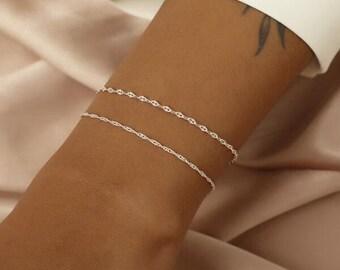 Minimal Elegant Bracelet | Silver Bracelet | Gift for her Stacking Bracelets, Bracelets for Women, Silver Chain Bracelet,Dainty Bracelet