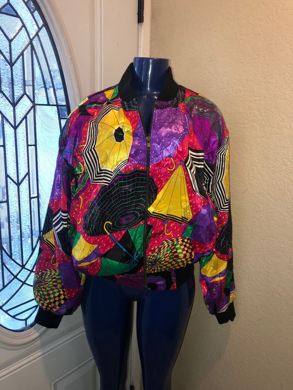 1980s vintage Colorful Bomber jacket with Matching