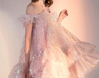 Fairy Dress, Sequin Dress, Gauze Dress, French Dress, Boho Dress Maxi, Vintage Dresses, Lace Dress, Pink Dress Women,Summer Dress For Women.