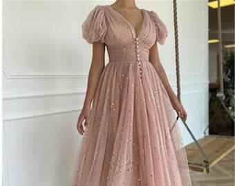 Sparkling Sequin Tulle Fairy Dress, Pink Corset Midi Dress, Bridesmaid Dress, Holiday Dress, Puff Sleeve Milkmaid Dress, Cottagecore Dress.