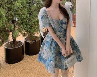 Floral Print Dress, PuffSleeveDress, Cottagecore Dress, Puffy Dress, Victorian Dress, French Vintage Dress, Fairy Dress, RomanticDress.