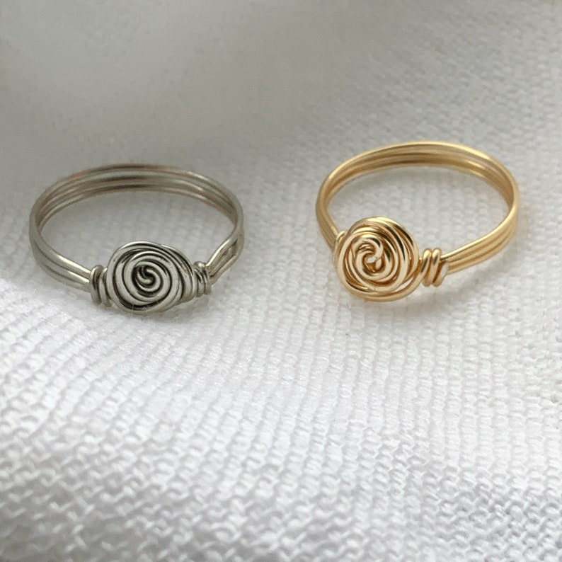 Wire ring Flower ring Valentines gift for her mothers wire wrapped ring dainty wire ring minimal ring  rose wire ring rose ring