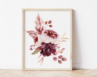 Watercolor Flower Printable Art - Fall Floral Print - Farmhouse Home Decor - Burgundy Floral Printable