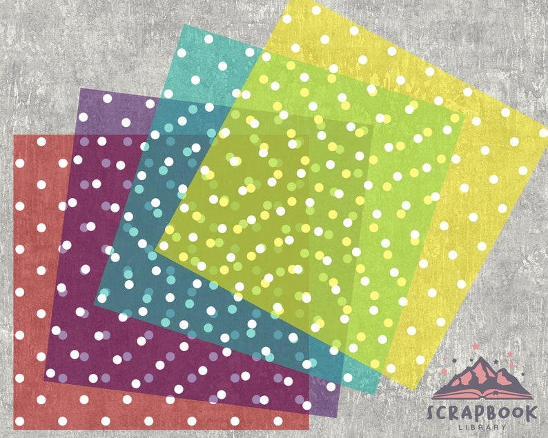 Scrapbook Paper White  Polka Dot on Rainbow Background Image Print Polka dot Digital Paper,Spots Polka Dots Pattern Digital Paper