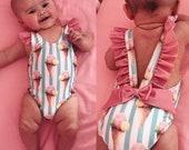 Vintage Ice Cream Stripe One Piece Summer Swimsuit Baby Toddler Girls