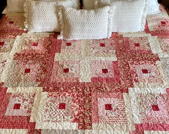 Rosey Log Cabin Quilt Kit Which Includes Quilt Pattern and Tensisters Handicraft EasyPiecing Grid