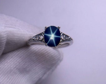 Flower /& Swirl sterling silver ring band earth mined in Thailand September birthstone Natural Blue Star Sapphire