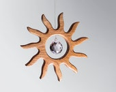 Suncatcher Gift Wood Sun with Crystal Prism Window Hanging Rainbow Maker Feng Shui Decoration