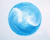 "What goes around original acrylic painting / 6"" x 6"""