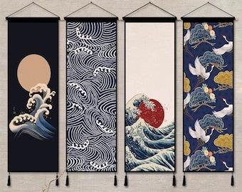 Japanese Ukiyoe Hanging Scroll Wall Decoration with Hangers