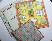 Vintage Board Game Boards Set of 3 Boards. Monopoly-Clue-Scrabble Milton Bradley-Parker Brothers Games DIY Projects Repurpose Ideas Old toys