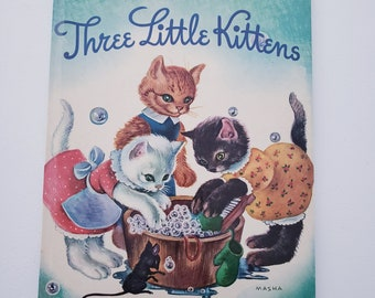 Vintage Three Little Kittens-A Big Golden Book-1963 Edition. By Masha. Nursery Rhymes Baby Shower Gift Picture Book Collectible Kids Book