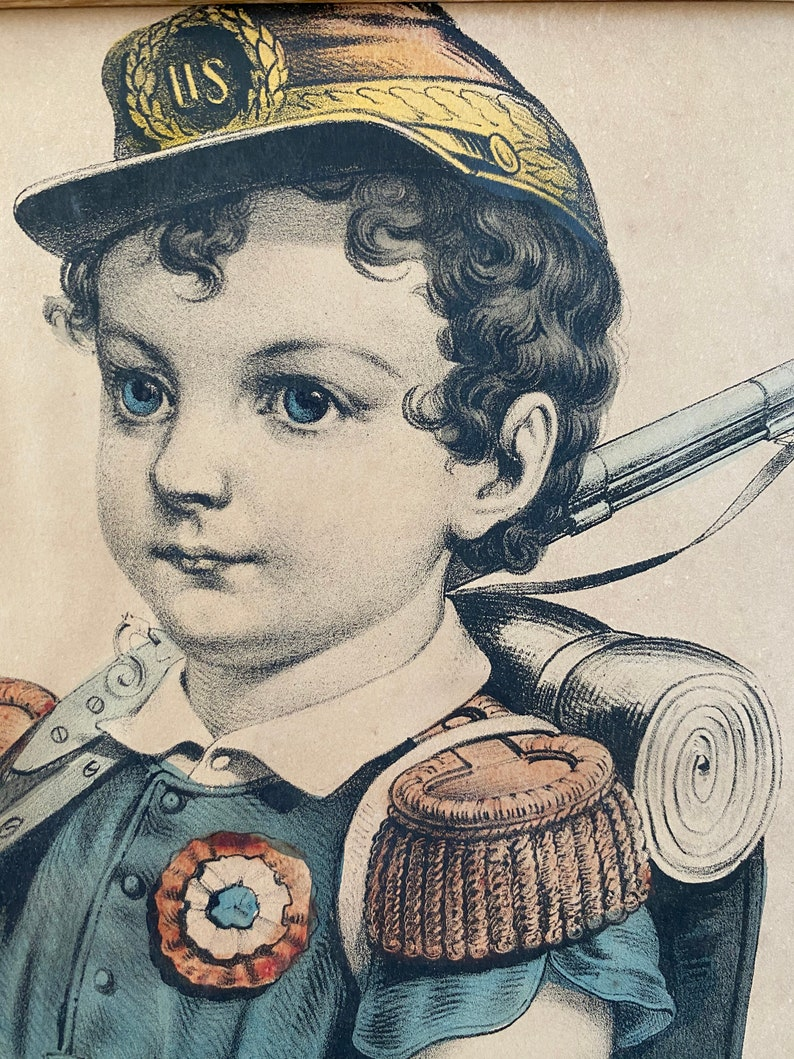 Boy Soldier Currier and Ives mid 19th Century Hand Colored Lithograph