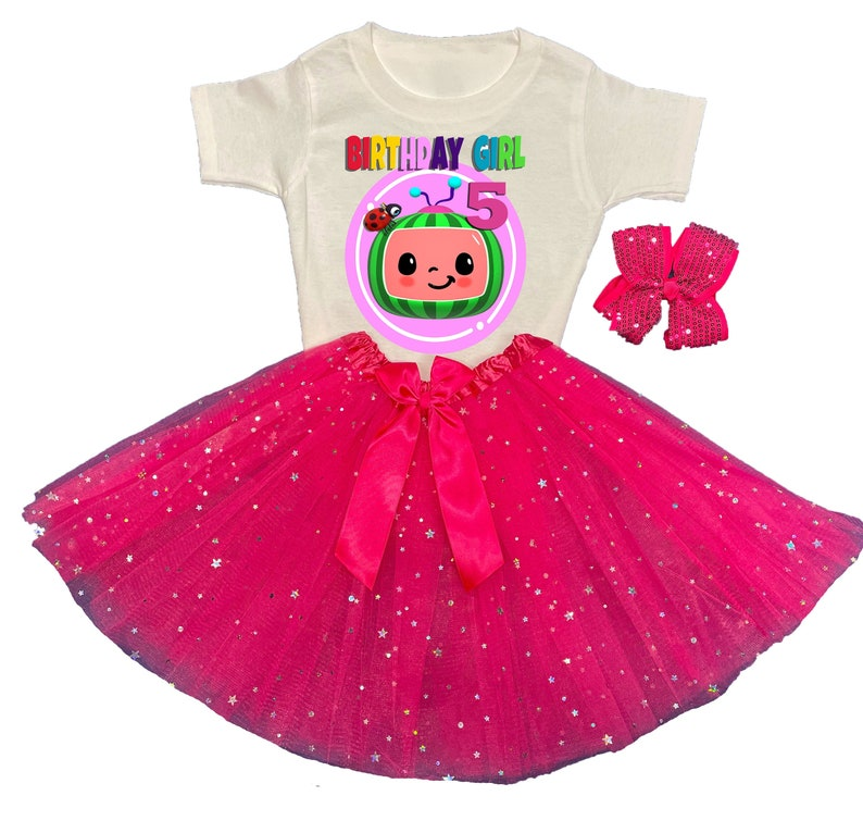 Coco Melon Tutu 5th Birthday Dress Name Personalized Outfit Custom Family Matching Shirt Age Name Baby Girl 1st,2nd,3rd,4th,5th,6th,7th.