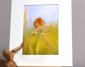 """Harvest Mouse Mounted Print,  10 x 12"""" 